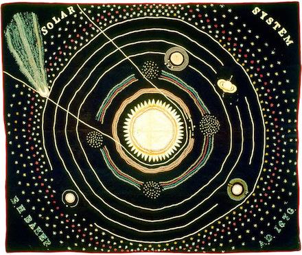 Solar System, embroidered quilt (1886-1883) by Ellen Harding Baker