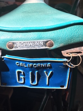 California Guy bicycle license plate, photo by Guy Biederman