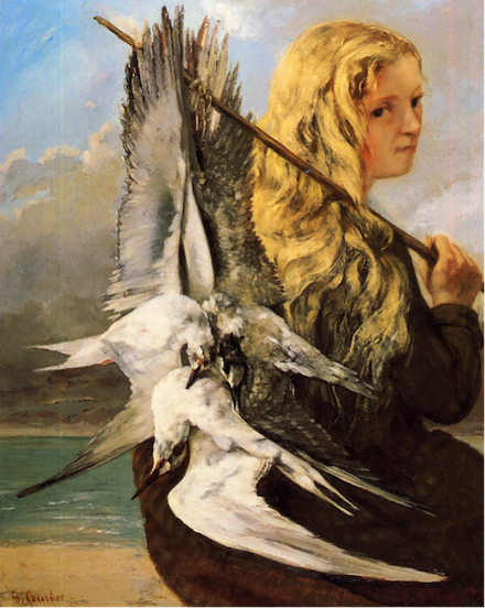 Girl With Seagulls, Trouville: painting (1865) by Gustave Courbet