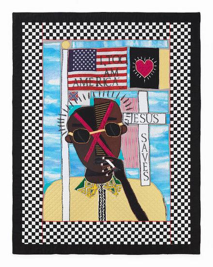 James Baldwin: Born into a Lie #3: Art Quilt (2018) by Michael A. Cummings