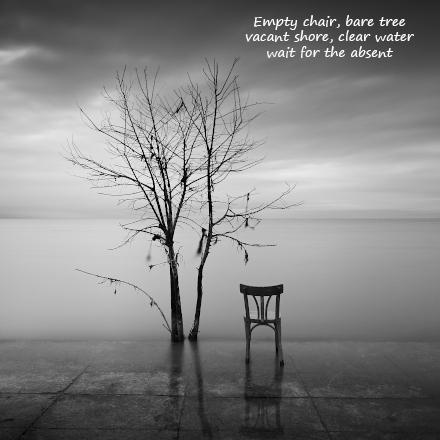 Empty chair, with poem by Gary S. Rosin and photo by Lucas Dumrauf