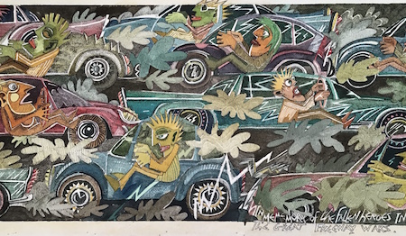 The Great Freeway Wars, a painting in the Car Crazy series by MaRco Elliott