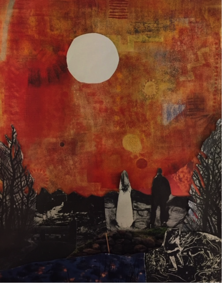 Red Dawn, collage by Louise Freshman Brown
