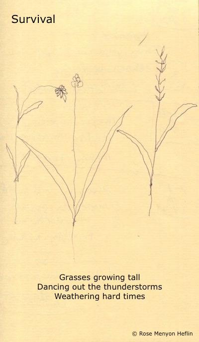 Survival: Haiga with poem and drawing by Rose Menyon Heflin
