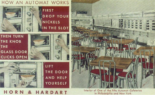 How an Automat Works: Horn and Hardart vintage postcard