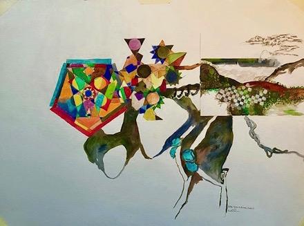 Fellini Goes to Fanore, Ireland: mixed-media painting by Ann Knickerbocker