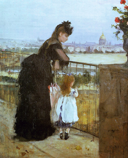 Woman and Child on a Balcony: painting (1872) by Berthe Morisot