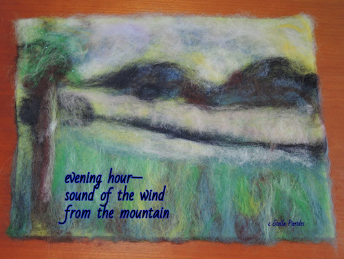 evening hour, haikufelting by Stella Pierides