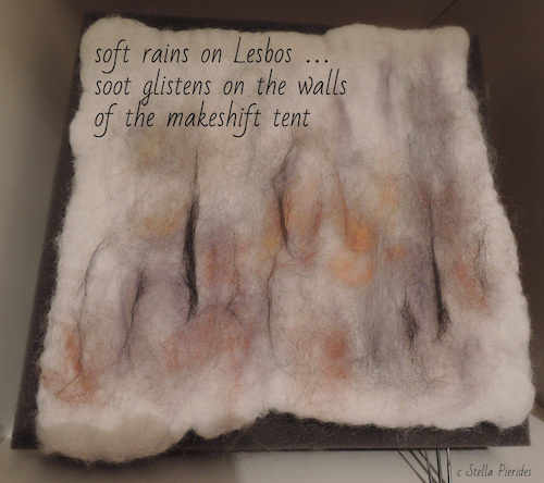 soft rains on Lesbos, haikufelting by Stella Pierides