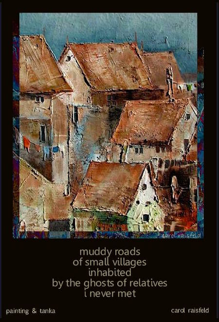 muddy roads, taiga (painting plus tanka) by Carol Raisfeld