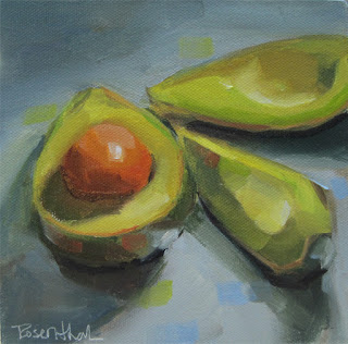 Avocado Gondolas: oil painting by Robin Rosenthal