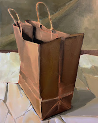 Bag on Paper: oil painting by Robin Rosenthal