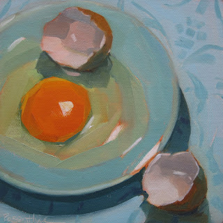 Egg on Blue Plate: oil painting by Robin Rosenthal