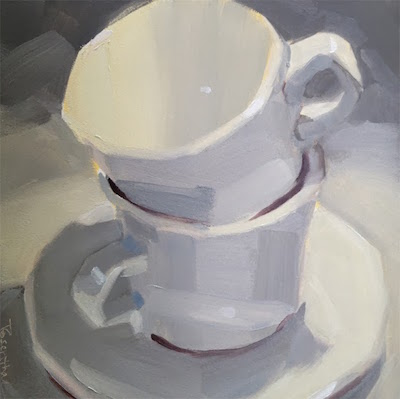 White Stacked Cups: oil painting by Robin Rosenthal