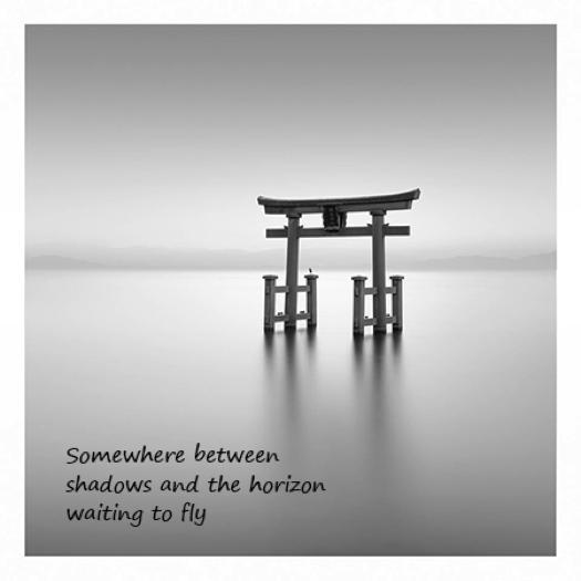 Somewhere between, haiga by Gary S. Rosin and Richard Hunter