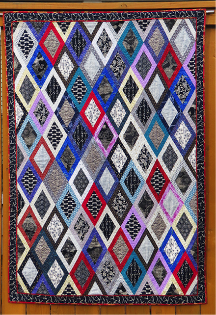 Homespun Diamonds: Fabric art (2021) by Jan S. Rosin