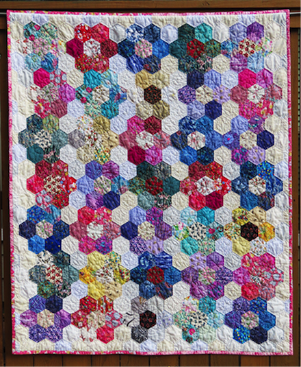 Pandemic Posies: Fabric art (2021) by Jan S. Rosin
