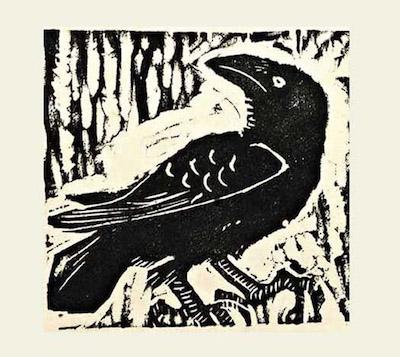 Untitled woodblock print of raven: Visual art by Andrew Waddington