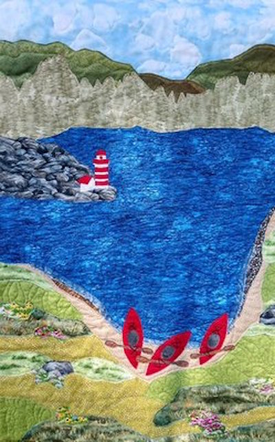 Kayaking on Knickerbocker Lake: quilt by Karen Forstad Weiderman