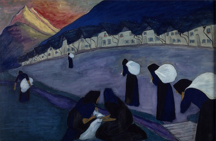 Women in Black: 1910 painting by Marianne von Werefkin