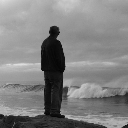 At the Edge of Myself #2: Black and white photograph by Jonathan Yungkans