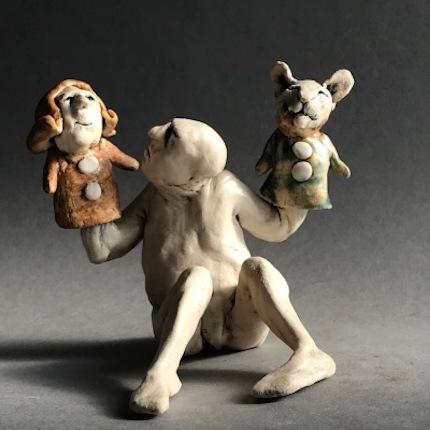 Cat-woman Puppet-man, ceramic figure by Aggie Zed