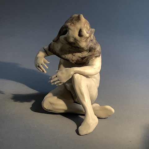 Magician (2001), front view, ceramic figure by Aggie Zed