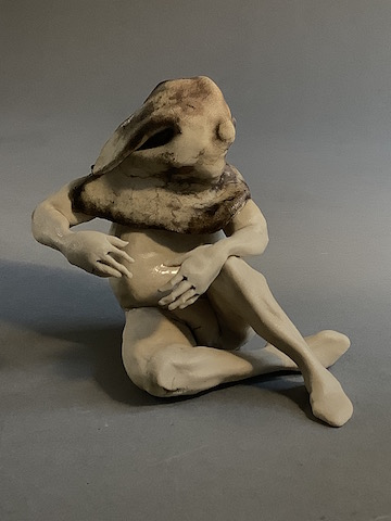 Magician (2001), side view, ceramic figure by Aggie Zed